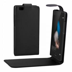 Étui en cuir avec bouton magnétique à rabat vertical pour Huawei P8 Lite (noir) SH731B1768-20
