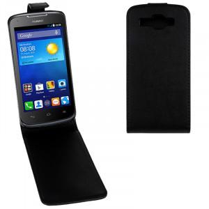 Étui en cuir à rabat magnétique à rabat vertical pour Huawei Ascend Y520 (Noir) SH573B269-20