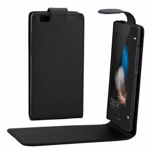 Pour Huawei P8 Lite Housse en cuir à pression magnétique avec rabat vertical Texture (Noir) SH658B1493-20