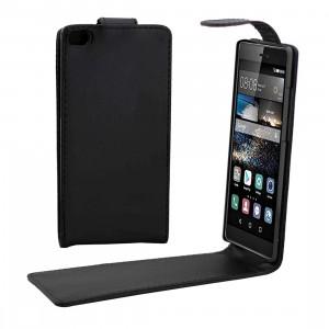 Etui en cuir à pression magnétique avec rabat vertical Huawei P8 Nappa (Noir) SH659B1287-20