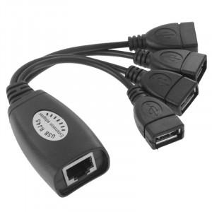 USB 2.0 CAT5 / CAT5E / CAT6 RJ45 à 4 USB prolongateur Ethernet LAN extension câble répéteur adaptateur SU00861057-20