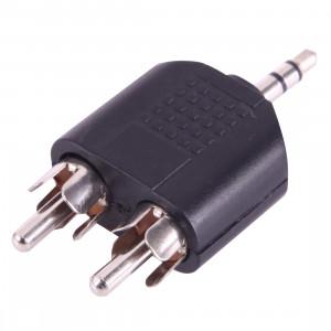 2x RCA Mâle à 3.5mm Mâle Jack Audio Y Adaptateur (Noir) S209691595-20