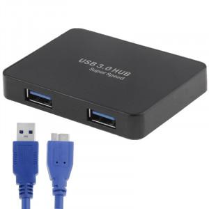 CR-H302 Surface de miroir 4 Ports USB 3.0 Super Vitesse 5 Gbps HUB + 60 cm Câble de Transmission USB 3.0 (Noir) SC231B266-20