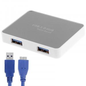CR-H302 Surface de miroir 4 Ports USB 3.0 Super Vitesse 5 Gbps HUB + 60 cm Câble de Transmission USB 3.0 (Blanc) SC231W1782-20