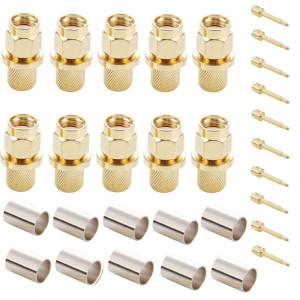10 PCS plaqué or SMA mâle connecteur à sertir connecteur RF pour RG58 / RG400 / RG142 / LMR195 câble S136291979-20
