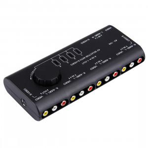 AV-109 Multi-Box RCA AV Audio-Vidéo Switcher + 3 câble RCA, 4 entrées de groupe et 1 système de sortie de groupe (noir) SA3850650-20