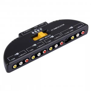 AV4-SVIDEO Sélecteur de signal audio-vidéo RCA AV multi-boîtiers + 3 câbles RCA, 4 entrées de groupe et 1 système de sortie de groupe (noir) SA3851140-20