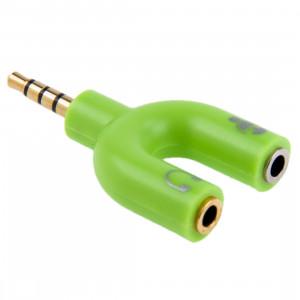 3.5mm Stéréo Mâle à 3.5mm Casque & Mic Femelle Splitter Adaptateur (Vert) S3001G1327-20