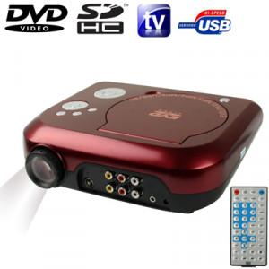 """Projecteur DVD portable de cinéma à domicile avec fonction récepteur TV (PAL / NTSC / SECAM), fonction AV IN / OUT et jeu, carte mémoire SD / MMC / disque flash USB, taille de l'image projetée: 10 """"-80"""" SH1090225-20"""