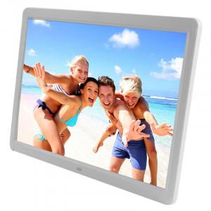 Cadre photo numérique multimédia 15.6 pouces avec écran LCD TFT avec lecteur de musique et lecteur vidéo / fonction de télécommande, prise en charge USB / carte SD, haut-parleur stéréo intégré (blanc) SH00061812-20