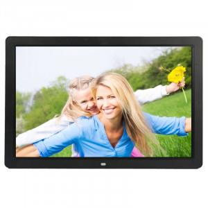 Cadre photo numérique multimédia à affichage LED HD 1080P de 17 pouces avec support et lecteur de musique et de film, prise en charge de la carte USB / SD / MS / MMC (noir) SH302B828-20