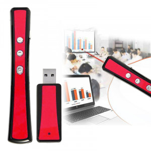 VIBOTON PP900 2.4GHz Présentation Multimédia Télécommande PowerPoint Clicker Clavier Flip avec récepteur USB, Distance de Contrôle: 25m (Rouge) SV133R741-20