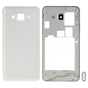 iPartsAcheter pour Samsung Galaxy Grand Prime / G530 (Version Double carte SIM) Couvercle du boîtier complet (cadre médian Bazel + couvercle arrière de la batterie) + bouton d'accueil (blanc) SI219W1241-20