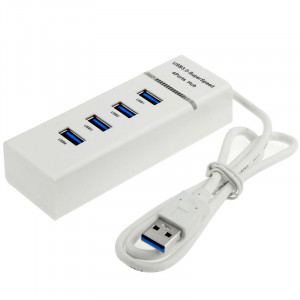 4 ports USB 3.0 HUB, super vitesse 5 Gbps, Plug and Play, avec indicateur de puissance LED, BYL-P104 (blanc) S4135S1389-20
