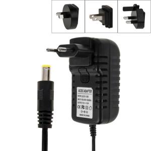 Prise UE 4 en 1 + prise US + prise UK + prise AU Adaptateur secteur AC 100-240V à DC 12V 3A, embouts: 5,5 x 2,1 mm, longueur du câble: environ 1,2 m (noir) SH003B278-20