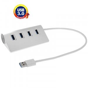 Haute vitesse 5Gbps 4 Ports USB 3.0 HUB Portable Aluminium USB Splitter, Soutien 2 To (Argent) SH533S1621-20