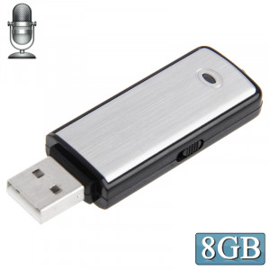Enregistreur vocal USB + Disque flash USB de 8 Go (noir) (noir) SH2054930-20