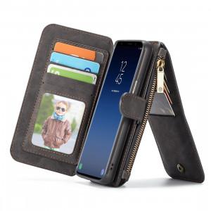 CaseMe pour Samsung Galaxy S9 Crazy Horse Texcture détachable horizontale étui en cuir avec fente pour carte et titulaire & Zipper Wallet et cadre photo (noir) SC191B1036-20