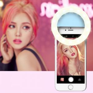 RK14 beauté de l'ancre artefact 3 niveaux de luminosité Selfie Flash Light avec 33 lumières LED, pour iPhone, Galaxy, Huawei, Xiaomi, LG, HTC et autres téléphones intelligents (Bleu) SH072L43-20