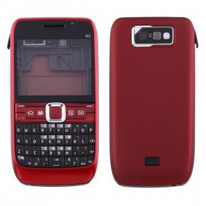 iPartsAcheter pour Nokia E63 Couvercle du boîtier complet (couvercle avant + lunette du cadre médian + couvercle arrière de la batterie + clavier) (rouge) SI00RL1549-20
