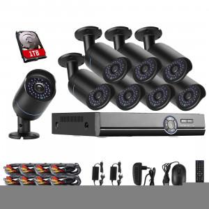 COTIER A8B5 8 canaux 720P 1,0 Mega 8 caméras IP Bullet Kit AHD DVR avec 1 disque dur de disque dur, prise en charge de vision nocturne / détection de mouvement, Distance IR: 20 m (noir) SC256B214-20