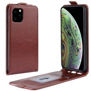 Étui de protection en cuir à rabat vertical Crazy Horse pour iPhone 11 Pro (Marron) SH101D357-20