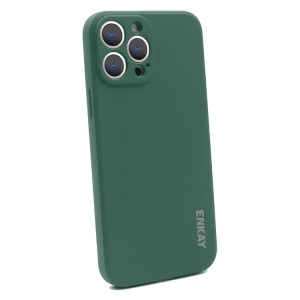 Hat-Prince ENKAY Liquid Silicone Shockproof Protective Case Cover for iPhone 13 Pro Max(Dark Green) SE601D1453-20