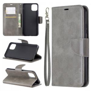 Étui en cuir PU avec une texture horizontale en cuir d'agneau rétro pour iPhone 11 Pro Max, avec porte-cartes et porte-cartes, portefeuille et lanière (Gris) SH601B1288-20