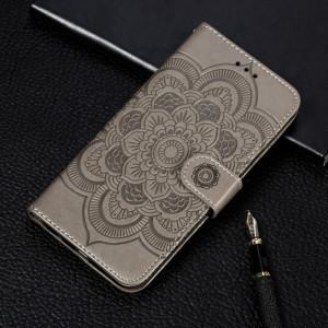 Etui à rabat horizontal en cuir Mandala avec motif gaufrage pour iPhone 11 Pro Max, avec support et logements pour cartes, portefeuille et cadre photo et lanière (Gris) SH601G632-20
