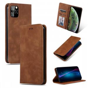 Etui en cuir avec rabat horizontal magnétique Business Skin Feel pour iPhone 11 Pro Max (Marron) SH001E1274-20