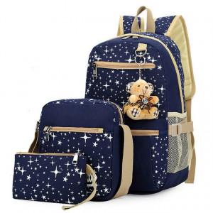 Sacs à dos à la mode pour impression d'étoiles en toile avec sac à dos à pendentif ours, 3 PCS / ensemble (bleu foncé) SH001A1279-20
