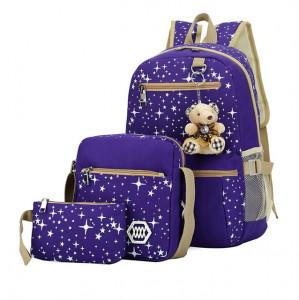 Sacs à dos à la mode pour impression d'étoiles en toile avec sac à dos à pendentif ours, 3 PCS / ensemble (violet) SH001C1317-20