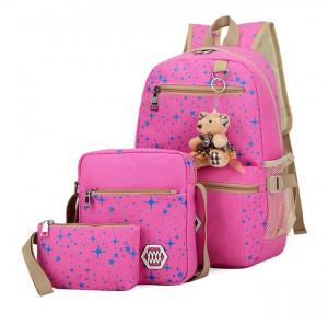 Sacs à dos à la mode d'impression d'étoiles en toile avec sac à dos de sac de voyage pendentif ours, 3 PCS / ensemble (rose) SH001D1156-20