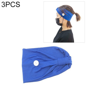 3 PCS Bandeau Foulard Sports Yoga Tricoté Bande de Cheveux absorbant la sueur avec Masque Bouton Anti-laisse (Bleu) SH701B1683-20