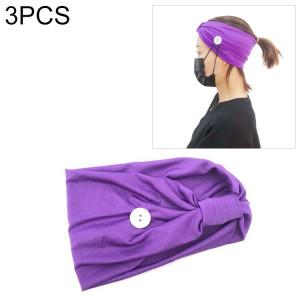 3 pièces bandeau foulard sport yoga tricoté bande de cheveux absorbant la sueur avec masque bouton anti-laisse (violet) SH701C1801-20