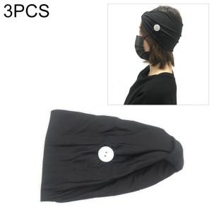 3 PCS bandeau foulard sport yoga tricoté bande de cheveux absorbant la sueur avec masque bouton anti-laisse (noir) SH701D1321-20