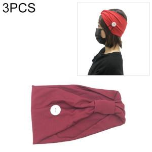 3 pièces bandeau foulard sport yoga tricoté bande de cheveux absorbant la sueur avec masque bouton anti-laisse (rouge foncé) SH701E591-20