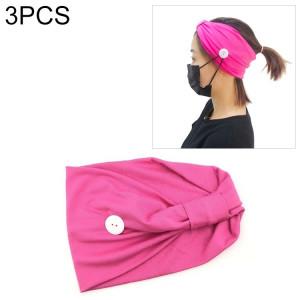 3 pièces bandeau foulard sport yoga tricoté bande de cheveux absorbant la sueur avec masque bouton anti-laisse (rose rouge) SH701F668-20