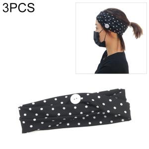 3 pièces bandeau foulard sport yoga tricoté bande de cheveux absorbant la sueur avec masque bouton anti-laisse (point de vague noire) SH701G300-20