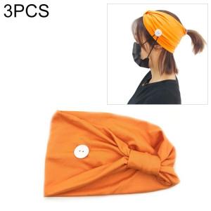 3 pièces bandeau foulard sport yoga tricoté bande de cheveux absorbant la sueur avec masque bouton anti-laisse (orange) SH701H763-20