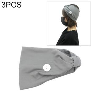 3 PCS Bandeau Foulard Sports Yoga Tricoté Bande de Cheveux absorbant la sueur avec Masque Bouton Anti-laisse (Gris) SH701I1168-20