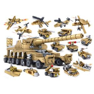 KAZI Military Super Blocks Blocs de Construction 16 en 1 Ensembles Army Bricks Modèle Brinquedos Toys, Age: 6 ans et plus SH1821713-20