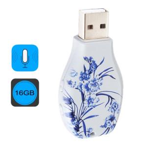 Enregistreur vocal audio portable avec motif en porcelaine Flowers Blue et White, 16 Go, Lecture de musique avec support SH44631815-20