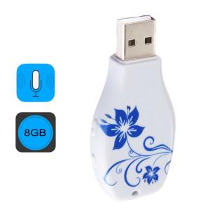Enregistreur vocal audio portable avec motif en porcelaine bleue et blanche simple, 8 Go, Lecture de musique avec support SH4472421-20