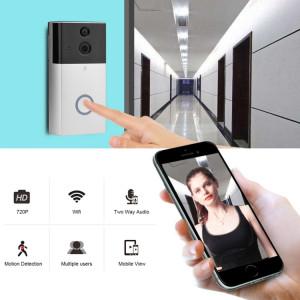 Caméra de sécurité VESAFE VS-A4 HD 720P Interphone de sonnette vidéo Smart WiFi, carte de support TF et application de vision nocturne et infrarouge infrarouge & & Motion pour IOS et Android (Silver) SH027S807-20