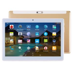 Tablette d'appel téléphonique 4G, 10,1 pouces, 2 Go + 32 Go, Android 7.0 MTK6592 Octa Core 1,3 GHz, double SIM, GPS, OTG, avec étui en cuir (or) ST049J717-20