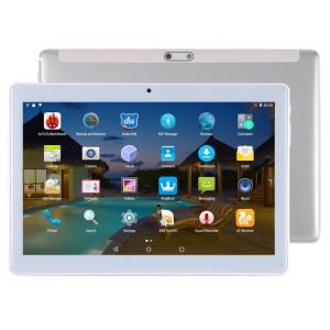 Tablette d'appel téléphonique 4G, 10,1 pouces, 2 Go + 32 Go, Android 7.0 MTK6592 Octa Core 1.3GHz, double SIM, GPS, OTG, avec étui en cuir (argent) ST049S1176-20