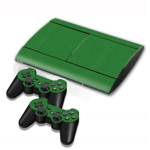 Autocollants en autocollant en fibre de carbone pour console de jeux PS3 (vert) SA005G-20