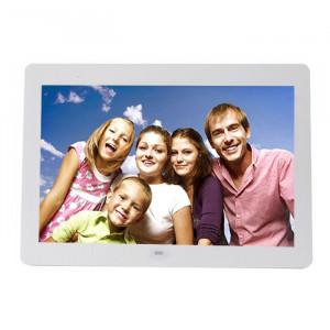 Écran LED de 14 pouces Cadre photo numérique multimédia avec support et lecteur de musique et de film, Prise en charge de l'entrée USB / SD / MS / MMC (blanc) S0229W1-20