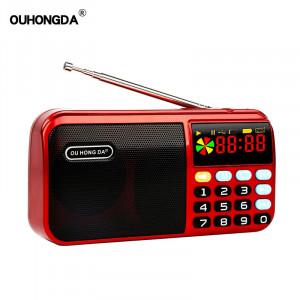 Mini radio portable portable numérique FM USB TF MP3 au lithium lecteur alimenté par batterie haut-parleur rouge C6522M10H2528-20
